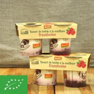 Yaourt BIO de brebis à la confiture de framboise - 2 pots